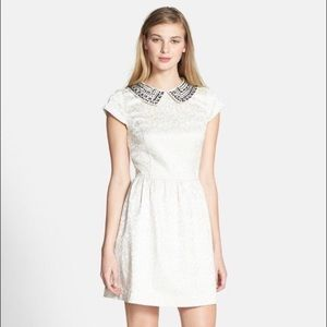Kensie Cream Peter Pan Beaded Brocade Dress